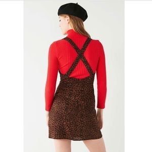 NWOT UO Animal Print Cross-back Mini Dress Leopard